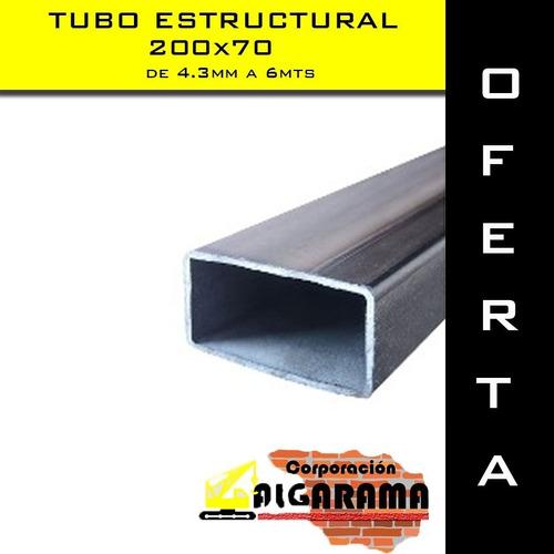 tubo estructural 200x70 4.3mm de 6 mts nuevos en oferta
