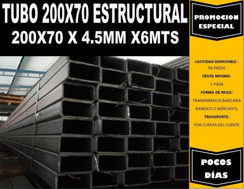 tubo estructural 200x70x6mts 4,00mm