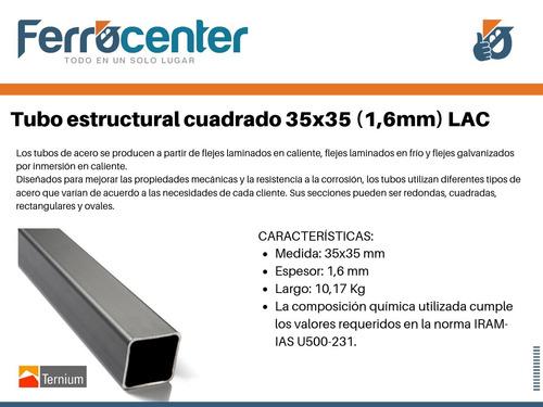tubo estructural cuadrado 35 x 35 x 1,6mm - 6 mts. de largo