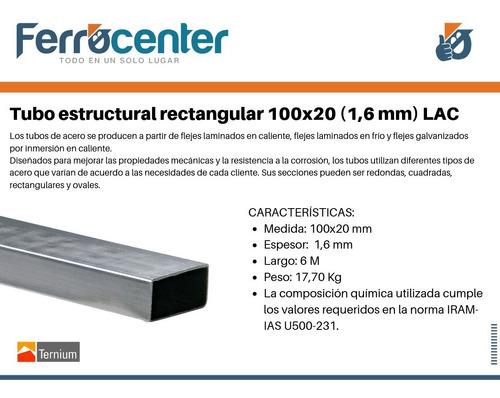 tubo estructural rectangular 100 x 20 x 1,6mm - 6 mts.