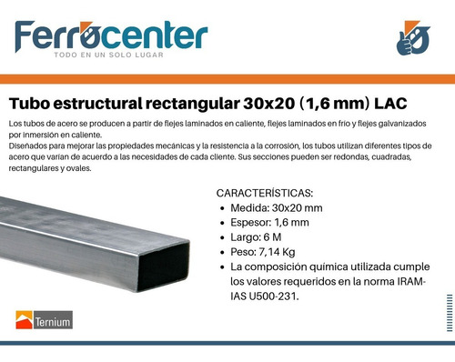 tubo estructural rectangular 30 x 20 x 1,6mm - 6 mts.