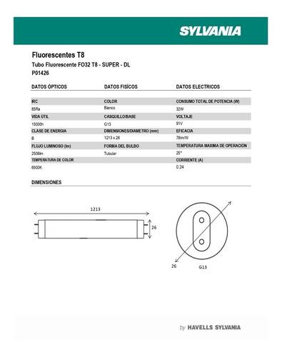 tubo fluorescente t8 32w 6500k sylvania p01426-3 ue(25)