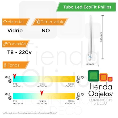 tubo led ecofit 16w = 36w philips t8 220v tienda objetos