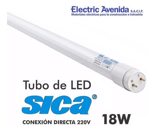 tubo led sica 18 w con difusor de vidrio luz dia t8 6400k