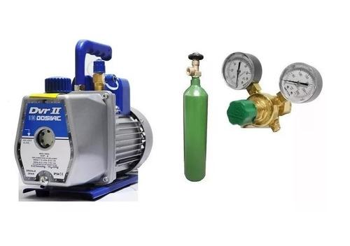 tubo nitrogeno 1/2 mt3 + regulador para r410 + bomba vacio 130 lts dosivac en 6 cuotas sin interes