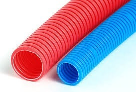 tubo plastico corrugado 3/8 azul y rojo 1x50m