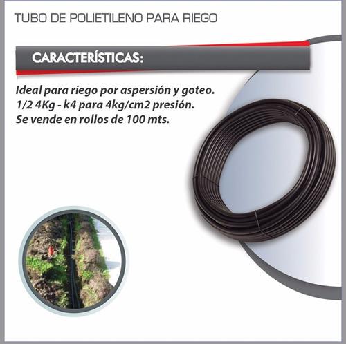 tubo polietileno para riego rollo de 1/2 k4 manguera 100m