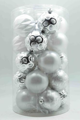 tubo x25 bolas diseños surtidos 8cm plateado