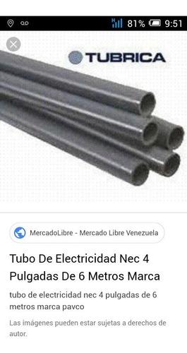 tubos de  4 electricidad de pvc  de  tubrica