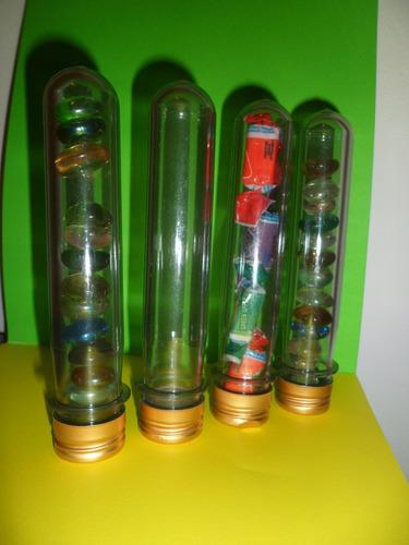 tubos de acrílico c/tapa rosca dorada - souvenirs/artesanias