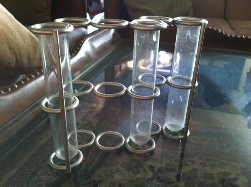 tubos de cristal con base metalica