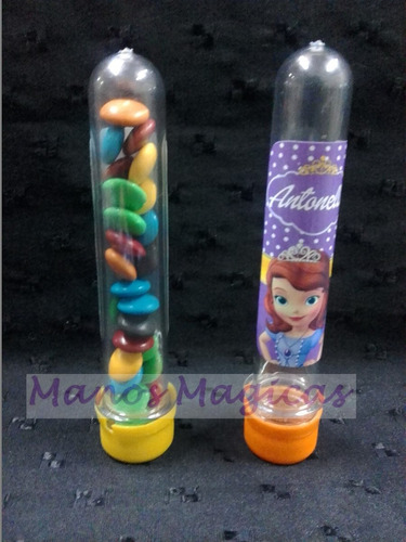 tubos golosineros minnie princesita sofia personalizados
