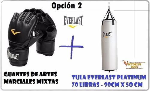 tula de boxeo 70 libras + guantes mma everlast gimnasio gym