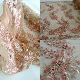 b87c3bbfc Vestido Com Flores Bordadas Tule - Vestidos Rosa claro no Mercado ...