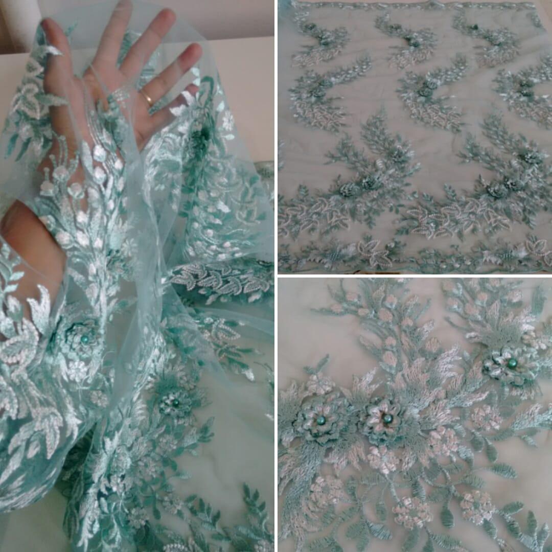 90aad445b Tule Bordado Flores 3d/vestido De Festa - R$ 79,99 em Mercado Livre