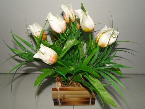 tulipa  arranjo cachepot artificial cana india 26x34cm