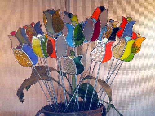 tulipan tutor adorno maceta vitraux tiffany