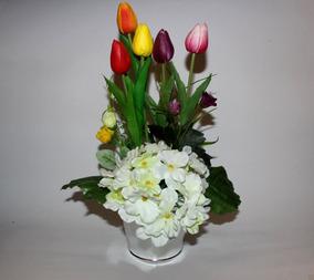 Tulipanes Artificiales De Latex Arreglos Flor Hortencia