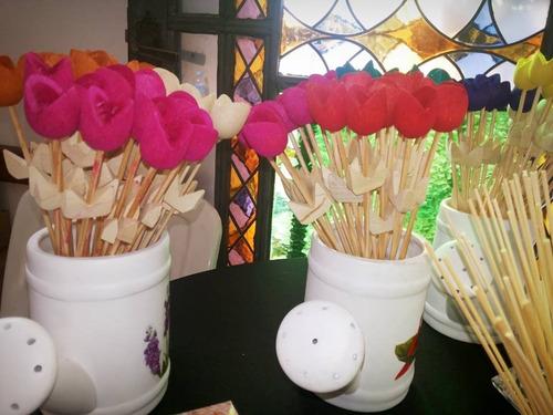 tulipas de madeira 5 unidades