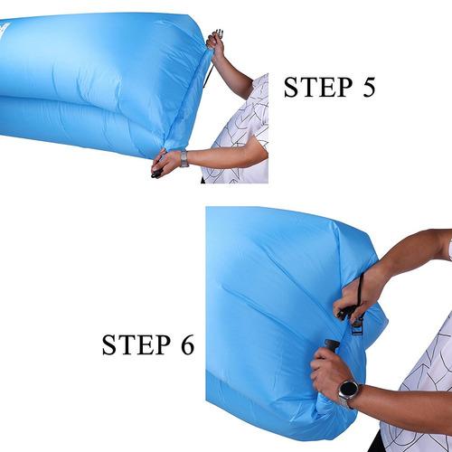 tumbona de aire inflable portátil autoinflable sofá silla, i