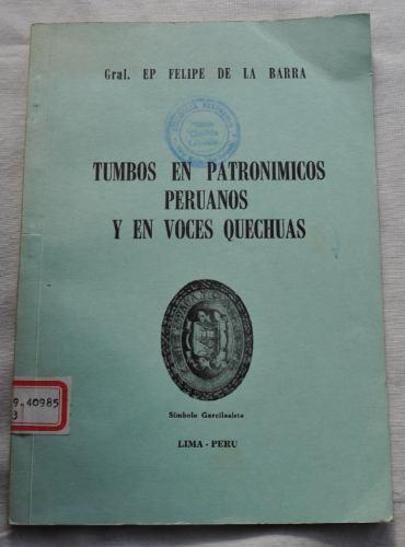 tumbos en patronimicos peruanos y en voces quechuas