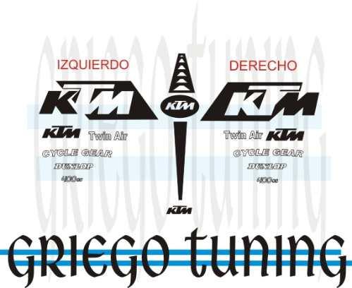 tun adhesivo en vinilo    ktm 16 piezas en negro y blanco