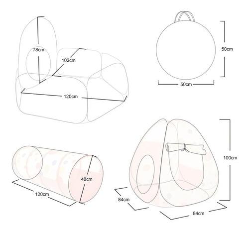 tunel  alberca pelotas gusano casa juegos didáctico canasta