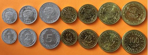 tunez africa 7 monedas sin circular tunisia