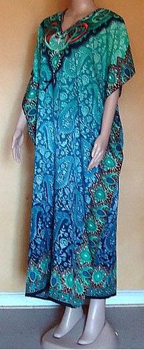 tunica kaftan vestido largo calipso azul. talla universal