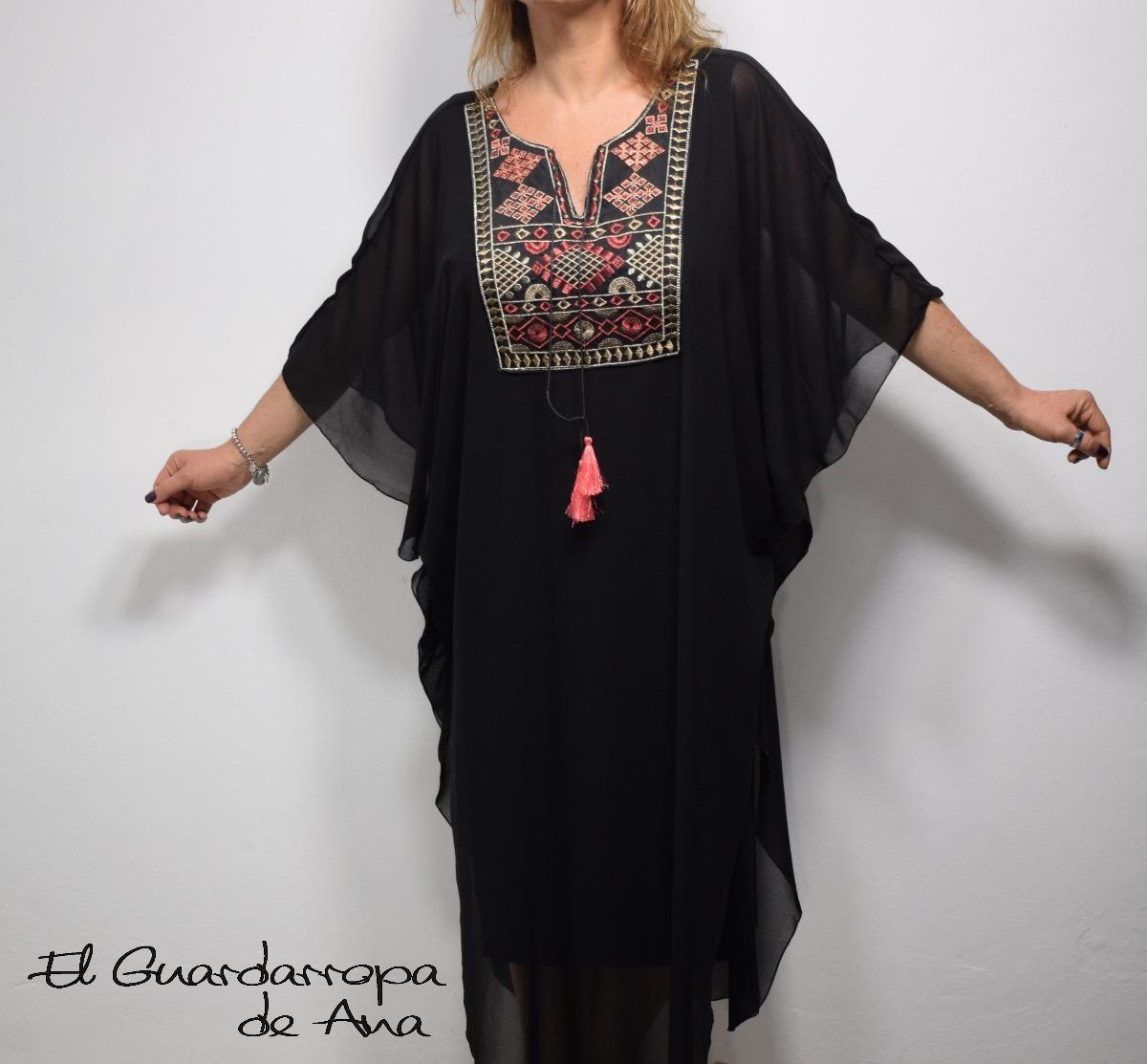 417b681e6 túnica vestido largo gasa bordado manga mariposa boho chic. Cargando zoom.