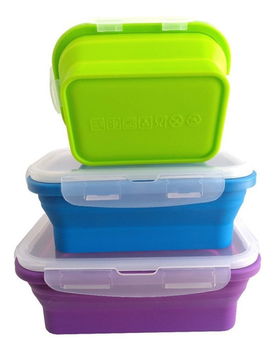 tuppers  box lunch  plegable, set 3 piezas
