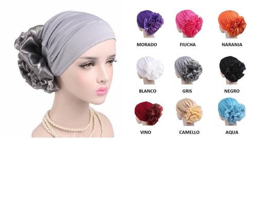 turbante chongo flor organza moda chic fiesta quimio alopici