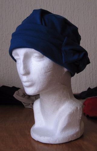 turbante de likra de algodón modelo roseta en algodon