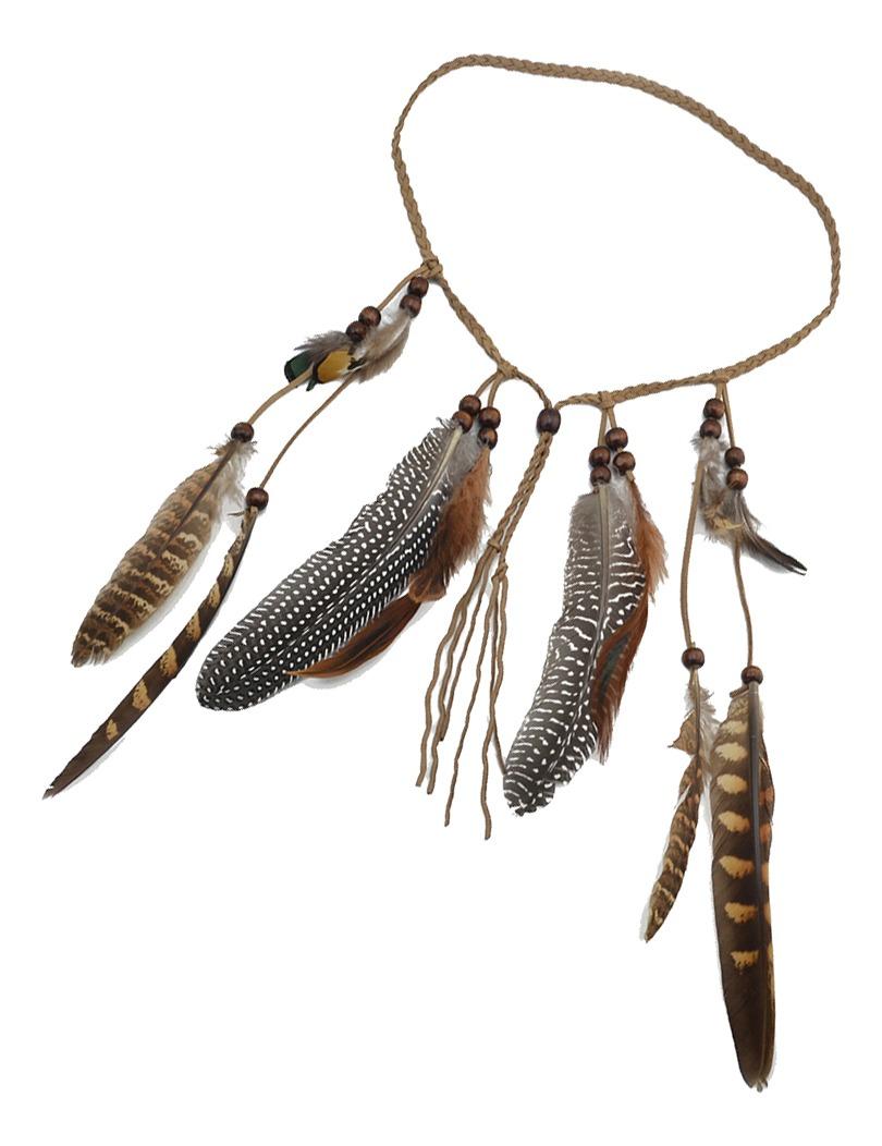 Boho Women/'s Indian Tassels Feather Hippie Headband Handmade Hair Accessories