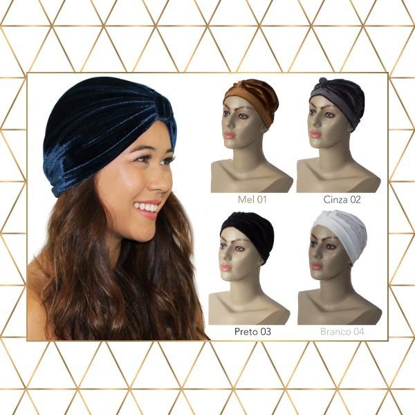 Turbante Moda Aveludado Ideal Para Quimioterapia Câncer - R  23 60024e016a9