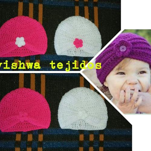 turbante tejido a crochet .gorro bebe. invierno flor