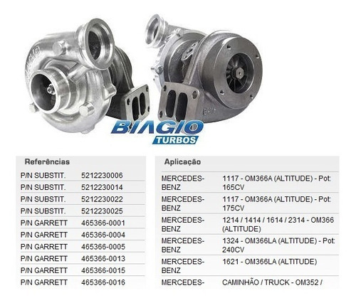 turbo biagio bbv084it caminhão mb om366 1218 1418 1620 1720