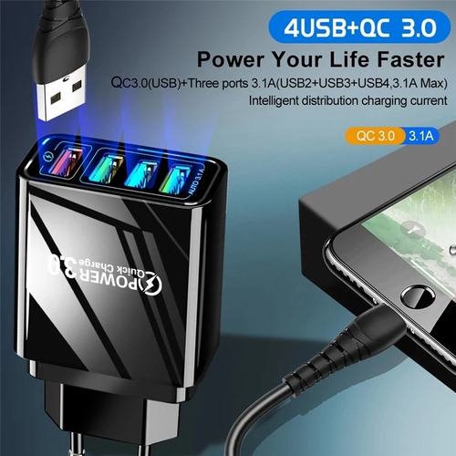 turbo cargador, 4 puertos, quick charge 3.0, android-iphone