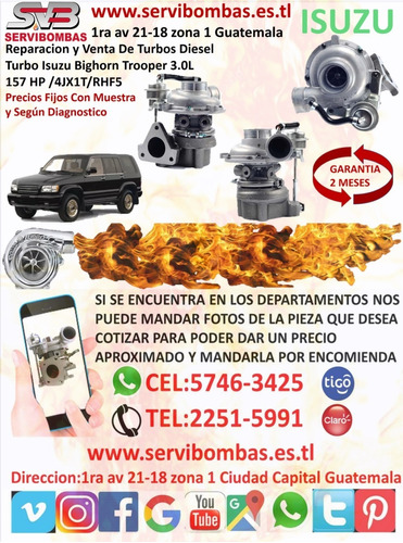turbo isuzu d-max 3.0 4jb1,4jj1 rhf4 guatemala