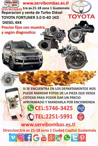 turbo toyota fortuner 3.0 1kd d4d diesel 4x4 guatemala