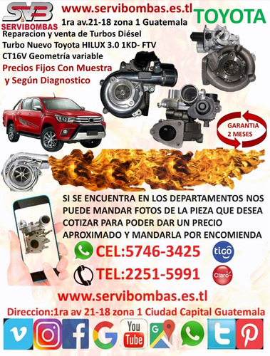 turbo toyota hilux 2.8/2.4 1gd/2gd  ct16v prado guatemala