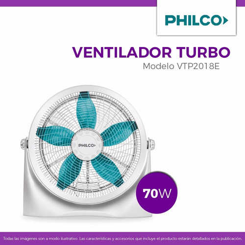 turbo ventilador philco vtp2018e 20 70w 3 vel pce