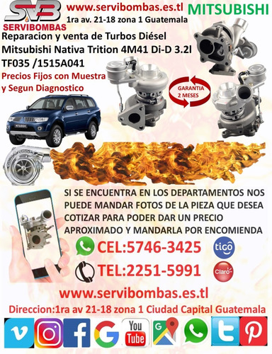 turbos mitsubishi l200 2.5 4d56 td04,tf035 guatemala