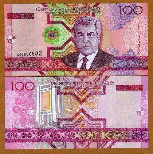 turcomenistão 100 manat 2005 p. 18 fe cédula - tchequito