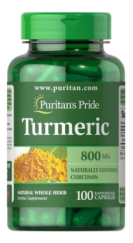 turmeric 800mg = cúrcuma natural 100 caps puritan's pride