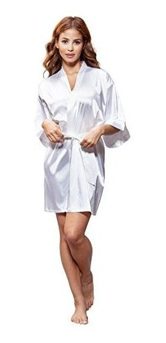 turquaz linen womens pure color satin short kimono dama de h