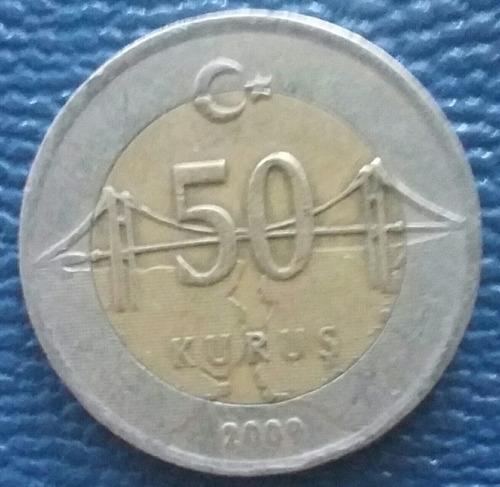 turquía moneda de 50 kurus vimetalica año 2009