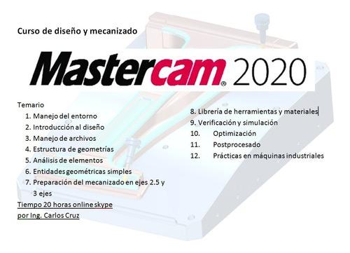 tutorial  curso de mastercam 20 hrs online skype