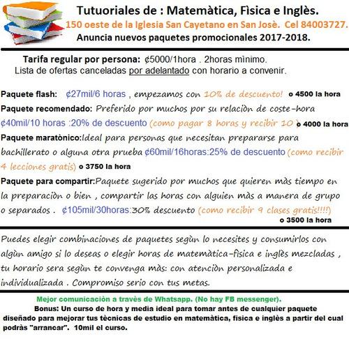 tutoriales de : matemática , física e inglés. (para colegio)