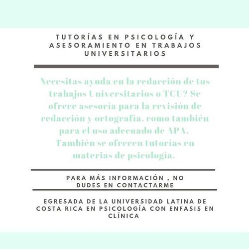 tutorías de psicología y asesoramiento en trabajos de la u